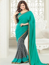 Sea Green And Grey Printed Georgette Saree - By