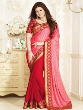 Red Brasso Georgette Saree With Embroidered Border - By