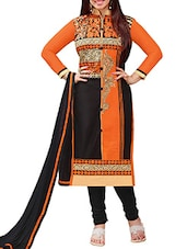 DASHING ORANGE AND BLACKe Cotton Semi Cotton Chiffon FABRIC WITH WORK OF FANCY NECK WITH HEAVY BORDER - By