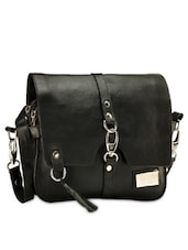 Black Genuine Leather Sling Bag - Phive Rivers