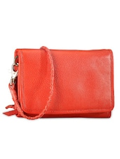 Red Genuine Leather Sling Bag - Phive Rivers