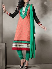 Red Cotton Embroidered Salwar Suit Set - By