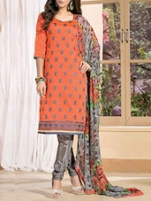 Red  Chanderi Cotton Embroidered Salwar Suit Set - By