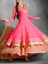 Pink Embroidered Georgette Anarkali Layered Suit Set - By