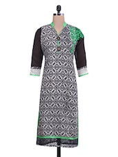 Black And White Printed Cotton Kurti - By