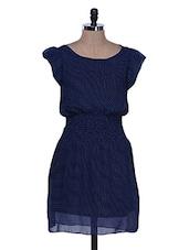 Polka Dot Print Navy Blue Dress - La Zoire