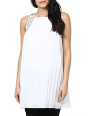 White Pleated Embellished Dress - Stykin