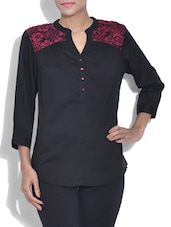 Black Quarter Sleeved Top With Lace Yoke - By