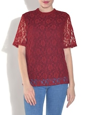 Solid Red Nylon Top - By