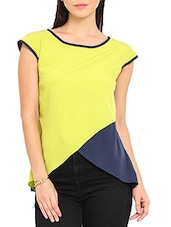 Lemon Yellow Cap Sleeved Polyester Top - By