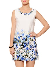 White Floral Printed Polyester Dress - By