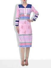 Pink Cotton Printed Three Quarter Sleeved Long Kurti - By