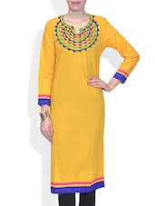Yellow Cotton Embroidered Three Quarter Sleeved Long Kurti - By