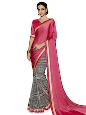 Pink And Grey Satin Chiffon Georgette Printed Zari  Saree - By