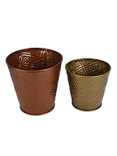 Set Of Gold And Copper Iron Planters(Set Of 2) - Color Palette