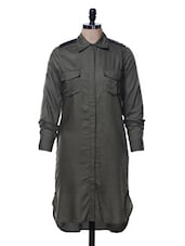 Olive Green Shirt Dress - Femella