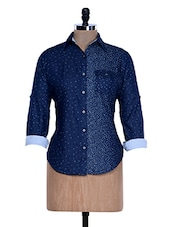 Solid Blue Dotted Shirt - Fast N Fashion