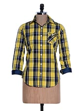 Yellow And Blue Chequered Shirt - Fast N Fashion