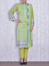Light Green Printed Cotton Unstitched Suit Set - By