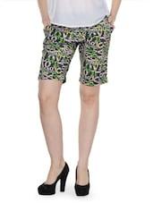 Multi-coloured Printed Casual Shorts - Fast N Fashion