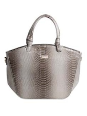 Solid Grey Faux Leather Textured Handbag - By