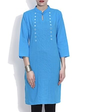 Sky Blue Cotton Kurta With Mirror Work - By