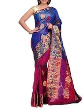Blue And Magenta Kora Banarasi Saree - SSPK