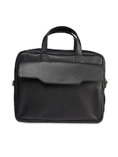 Solid Black Faux Leather Laptop Bag - By