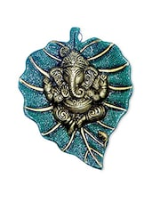 Teal And Gold Ganesha Wall Hanging - By