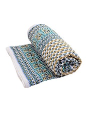 Blue Cotton Block Printed  Single Bed Quilt - By