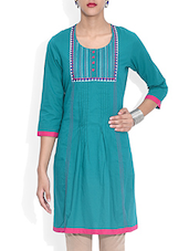 Green Cotton  Three Quarter Sleeved Kurti - By