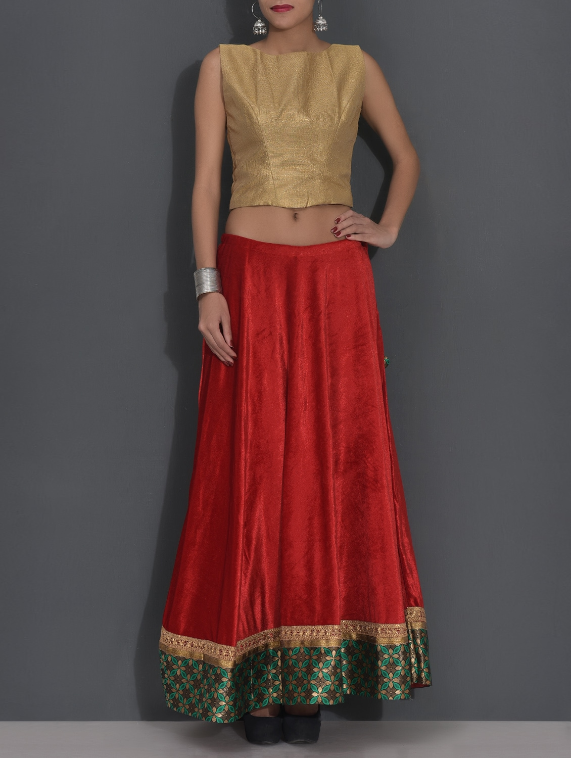 32e515daa4342 Red And Gold Semi Brocade Crop Top Skirt Set By Kaanchie Nanggia