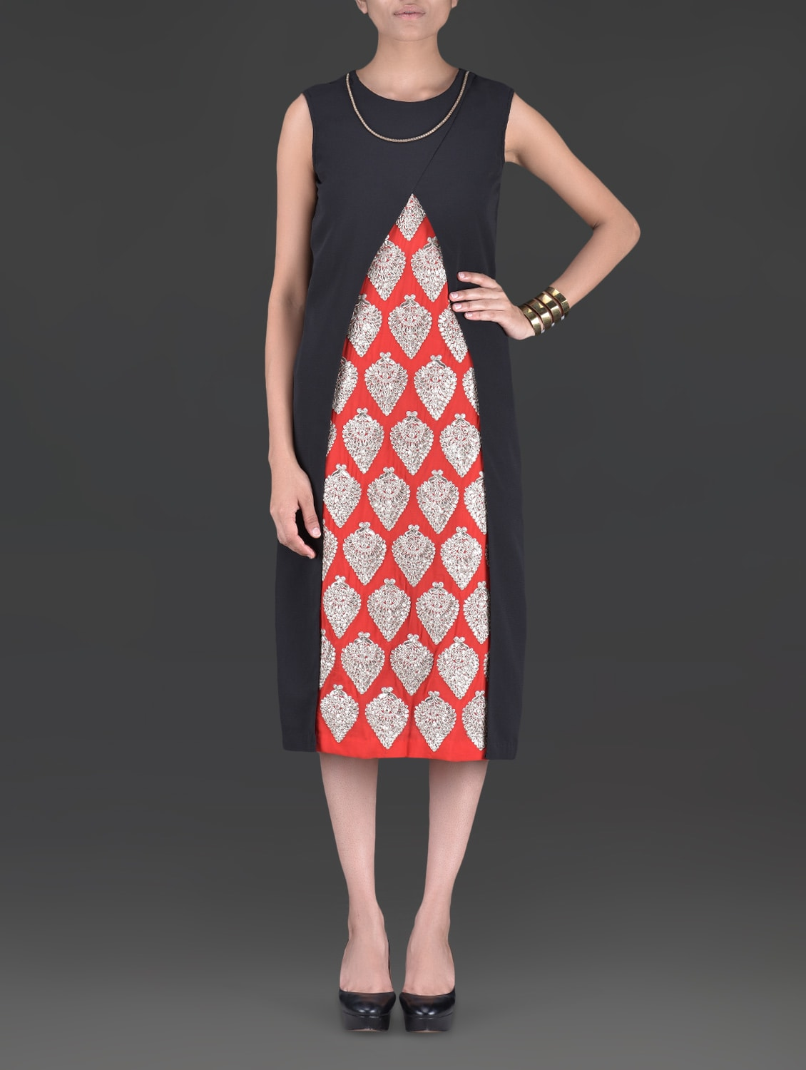 Black And Red Embroidered Georgette Dress - By