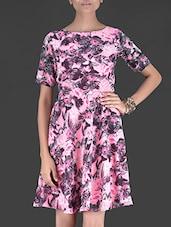 Pink Floral Printed Short Sleeved Georgette Dress - By