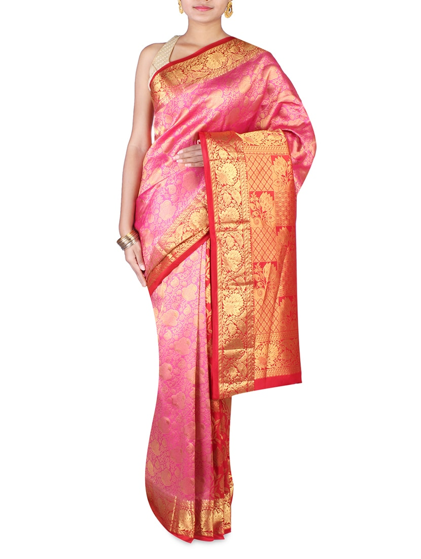 Pink And Red Brocade Silk Saree - By