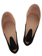 Chic Beige And Black Suede Ballerinas - KNIGHT N GALE