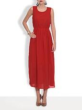 Red Poly Georgette Floral Printed Crop Dress - By