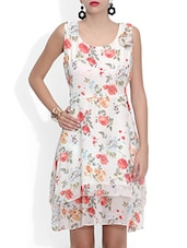 White Poly Georgette Flower Printed Mini Dress - By
