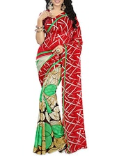 Red & Green Georgette Printed Saree - By