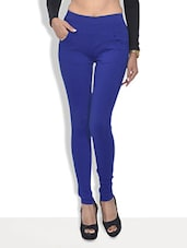 Blue Cotton Lycra Leggings With Pockets - By
