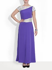 Purple Crepe  Short Sleeved Maxi Dress - By