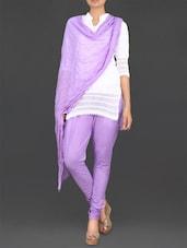 Lavender Churidaar Cotton Leggings - Stylenmart