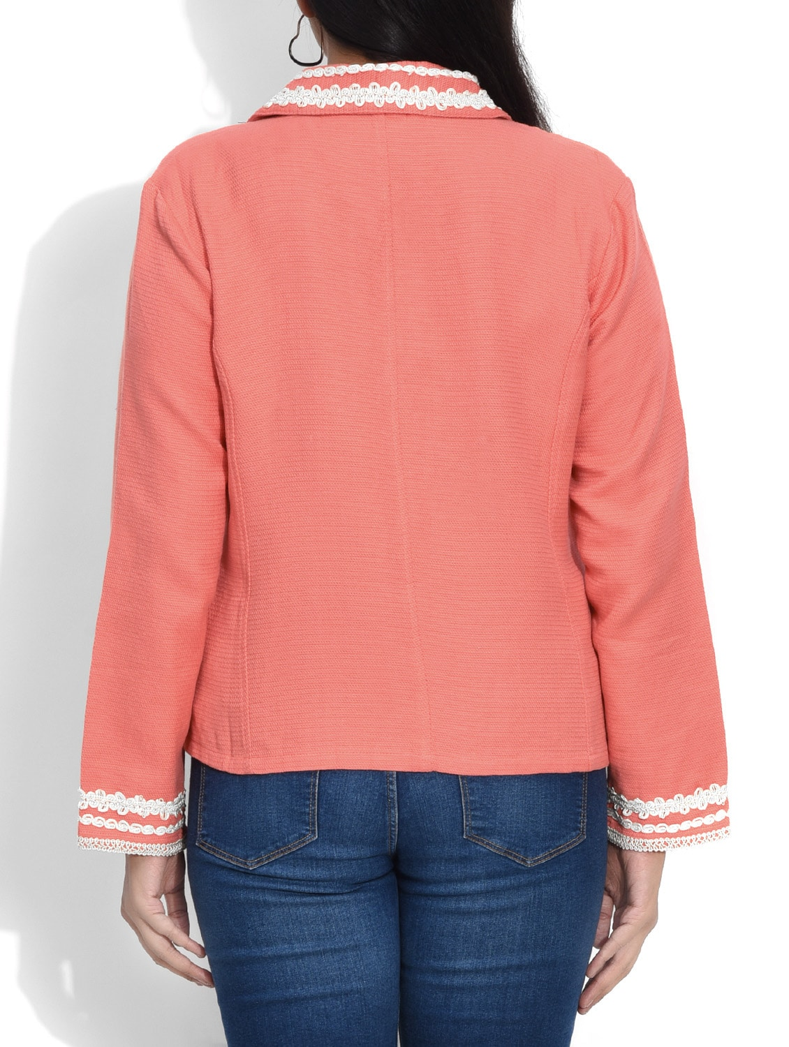 b5a15fb26b2 Buy Peach Laced Cotton Jacket by Entease - Online shopping for Summer  Jackets in India