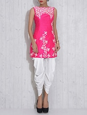 Pink And White Croma Silk Embroidered Dhoti Suit - By
