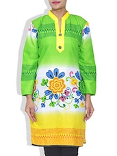 Multicolored Floral Printed Cotton Kurta - By