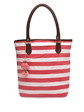 Red And White Striped Canvas Tote Bag - By