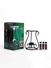 Black Metallic Oil Burner Gift Set With Free T-Lights - By