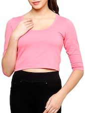 Solid Pink Cotton Lycra Crop Top - By