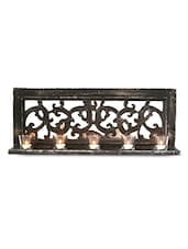 Scroll Worked Black Wood And Mirror Tea Light Holder - By