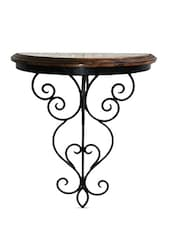 Black Iron And Wood Scroll Worked Wall Bracket - By